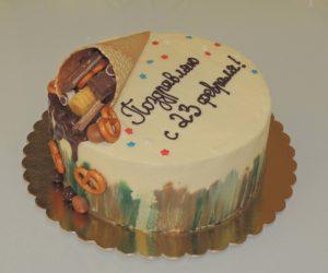 Торт с тематической надписью