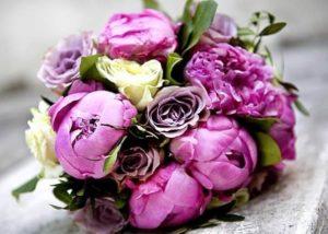 Фиолетовые пионы для букета невесты