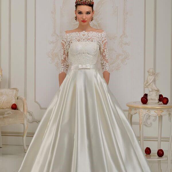Атласное свадебное платье, вариант 12