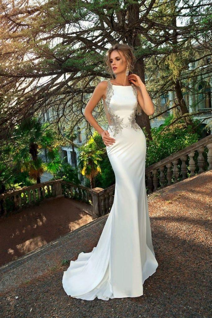Атласное свадебное платье, вариант 7