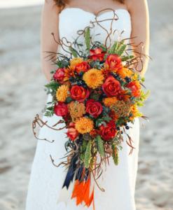 Оранжевый букет невесты, вариант 1