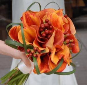 Оранжевый букет невесты, вариант 2