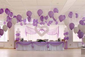 Свадебные украшения зала шариками